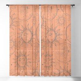 Orange Magic Celestial Sun Moon Stars Sheer Curtain