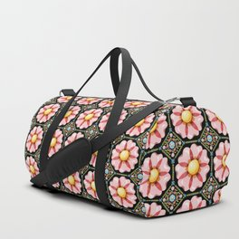 Pink Flower Boho Chic Duffle Bag