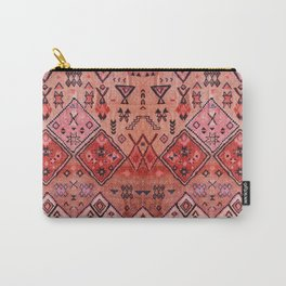 N52 - Pink & Orange Antique Oriental Traditional Moroccan Style Artwork Carry-All Pouch