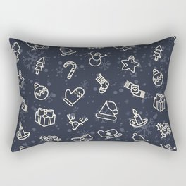 Vintage Christmas Pattern with Tree, Star, Present, Snowman, Candy Cane Rectangular Pillow