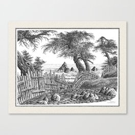 COASTAL CYPRESS TREES VINTAGE PEN DRAWING Canvas Print