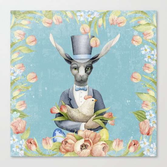 Beautiful Floral Flowers Animal Easter Bunny  on #Society6 Canvas Print