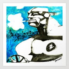 Superhero stressed in traffic Art Print