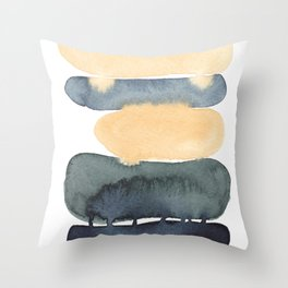 Earth Tones Abstract Painting Fine Art, Yellow, Green and Blue - Modern Contemporary Minimalist style Throw Pillow