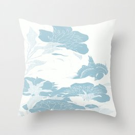 japanese Flowers White and Blue Throw Pillow