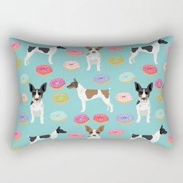 Rat Terrier donuts dog breed pet portrait dog pattern dog breeds gifts for dog lovers Rectangular Pillow