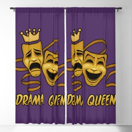 Drama Queen Comedy And Tragedy Gold Theater Masks Blackout Curtain
