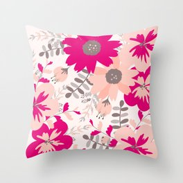 Big Flowers in Hot Pink and Accent Gray Throw Pillow