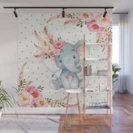 Boho Floral Elephant - Pink & Faux Gold Wall Mural