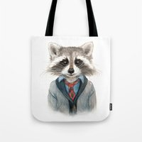 raccoon Tote Bags featuring Raccoon by Leslie Evans