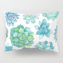 Pretty Aqua and Green Succulent Floral Patten Pillow Sham