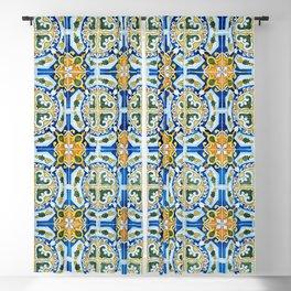 Seamless Floral Pattern Ornamental Tile Design : 2 - Blue, yellow Blackout Curtain