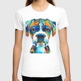 Colorful Boxer Dog Art By Sharon Cummings T-shirt