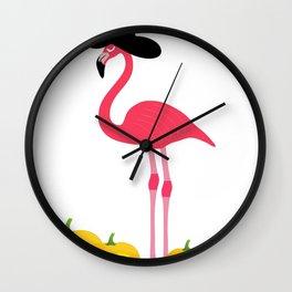 Halloween Flamingo Witch Hat Jackolanterns Wall Clock