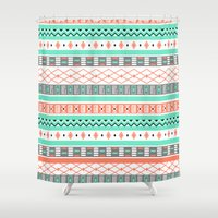 aztec Shower Curtains featuring Aztec by Rooster