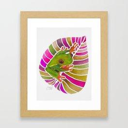 Frog On A Leaf Framed Art Print