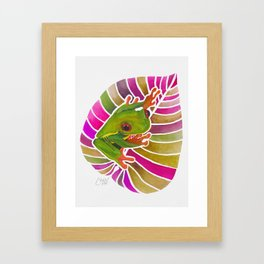 Frog On A Leaf Framed Art Print