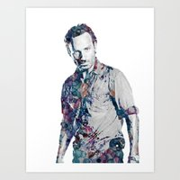 rick grimes Art Prints featuring Rick Grimes by NKlein Design