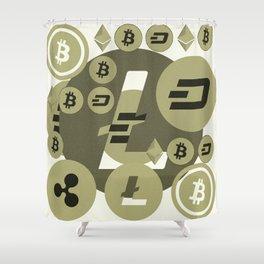 Ethereum, Bitcoin, Dash, Ripple, Litcoin pattern Shower Curtain
