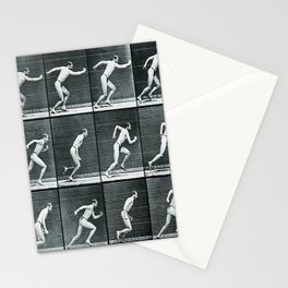 Time Lapse Motion Study Man Running Study Photography Pop Art Vintage Human Men Stationery Cards