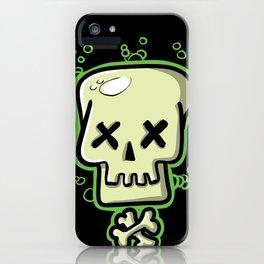 Toxic skull and crossbones green iPhone Case