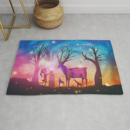 Girl meeting magical forest animals Rug