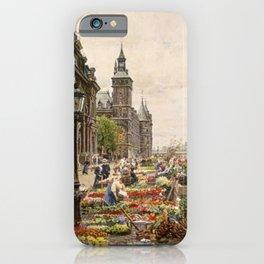 Parisian Flower Market on the River Seine by Girmin-Girard iPhone Case