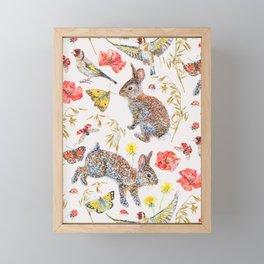 Bunny Meadow Pattern Framed Mini Art Print