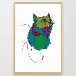 Cat Puppet Framed Art Print
