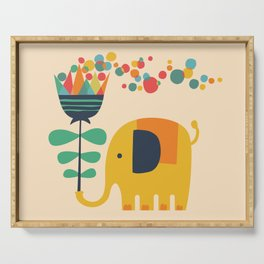 Elephant with giant flower Serving Tray