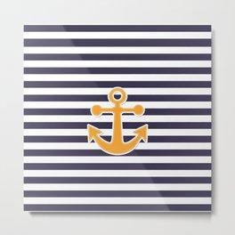 Blue , white , striped Metal Print
