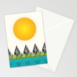Happy Little Mountain Scene Stationery Cards