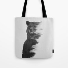 Observing Bear (black & white version) Tote Bag
