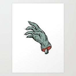 Zombie Monster Hand Drawing Art Print