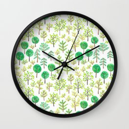 Watercolor forest in doodle style Wall Clock