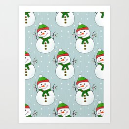 Christmas Snowman Pattern  -  Merry Christmas Art Print