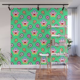 winter baby penguins, retro vintage colorful lollipops, sweet candy holiday green pattern. Nursery Wall Mural