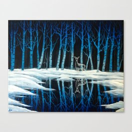 """""""The Forest of Dean"""" (Bob Ross-style Patronus Painting) Canvas Print"""