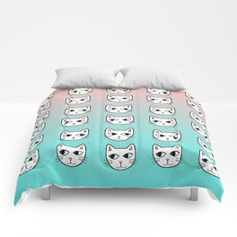 Whimsical White Cats Mint Pink Pattern Comforters