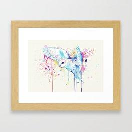 White Barn Owl Watercolor Framed Art Print