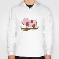 pig Hoodies featuring Pig by Claire Lordon