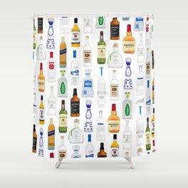 Tequila, Whiskey, Vodka Bottles Illustration Shower Curtain