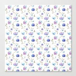 Blue watercolor flowers Canvas Print