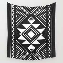 Aztec boho ethnic black and white Wall Tapestry