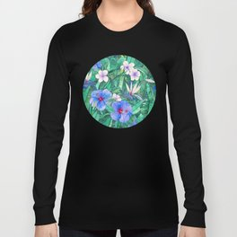 White Bird of Paradise & Blue Hibiscus Tropical Garden Long Sleeve T-shirt