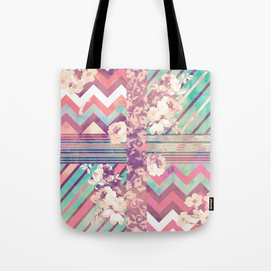 Retro Pink Turquoise Floral Stripe Chevron Pattern Tote Bag