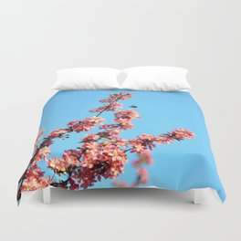 Pink flowers With Bee Duvet Cover