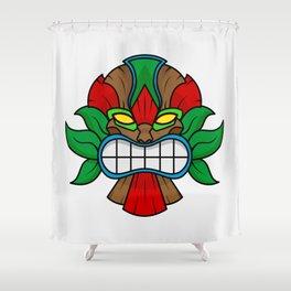 Tiki Mask - White Background Shower Curtain