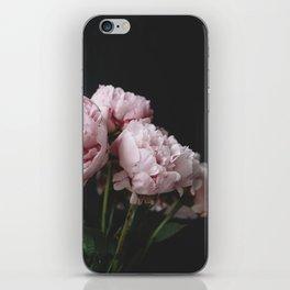 Peonies on black iPhone Skin