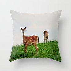 Backyard Deer Throw Pillow